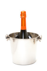 photo of Champagne and bucket on white background