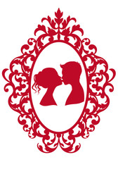 kissing couple in antique frame, vector