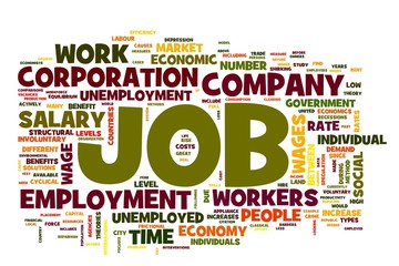 Job concept in word tag cloud