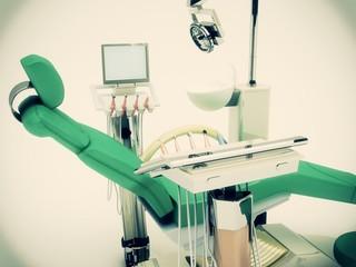 horror studio sedia poltrona dentista illustrazione 3d
