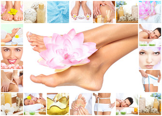 Spa massage. Legs with flower.