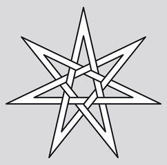 Heptagram, also called septagram or septegram. Seven-pointed geometric star figure that can be drawn with seven straight strokes. Illustration on white background. Vector.