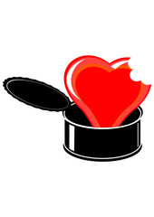 Red cartoon heart in black open tin