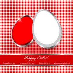 Osternfrühstück Tischdecke Rot Weiss Silber