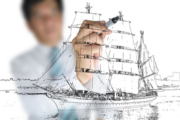 Hand of Business man draw sailing ship
