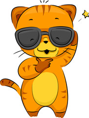 Fond de hotte en verre imprimé Chats Cool Cat