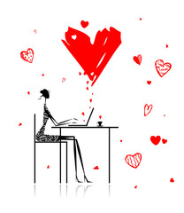 Papiers peints Rouge, noir, blanc Valentine day. Girl with laptop in cafe