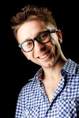 cheerful guy vith glasses