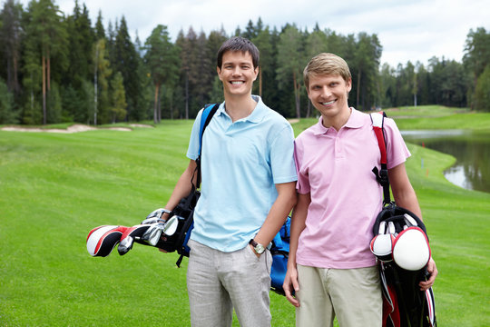 Two golfers on the golf course