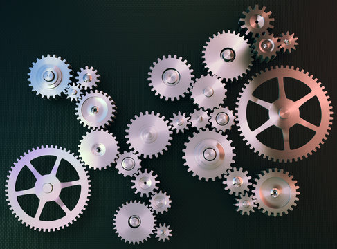 Stainless steel gears background
