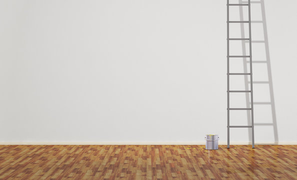 Ladder and paint can in an empty room