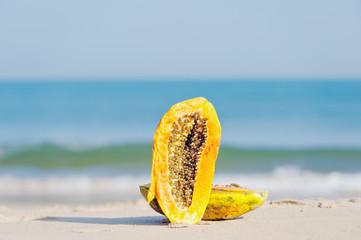 Halves of papaya