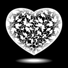 Floral heart black&white