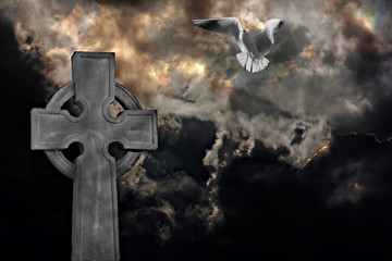 Graveyard cross with seagull against storm clouds