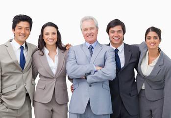 Successful senior businessman with his team