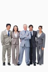 Successful senior salesman with his team