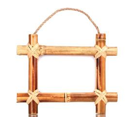 bamboo photo frame isolated on white
