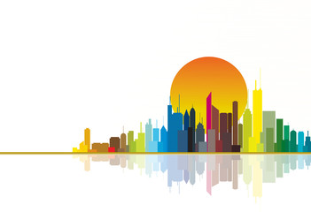 Colorful city silhouette illustration with bright sun