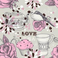 Tea love seamless pattern