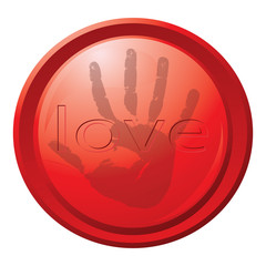 """The red button with a print of a hand and an inscription """"love"""""""