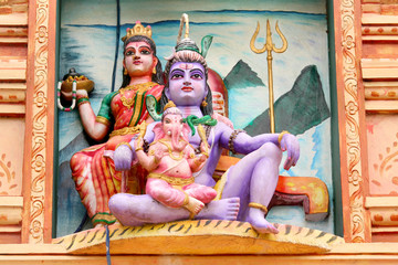 Hindu god lord Shiva, Godess Parvathi and Ganeha statues