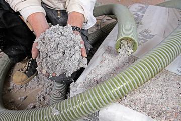 Obraz installing dry cellulose fiber blown-in insulation - fototapety do salonu