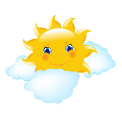 Cartoon Sun And Blue Cloud