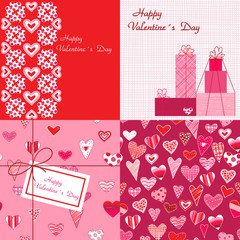 Set of Valentines backgrounds. Heart pattern. Love.