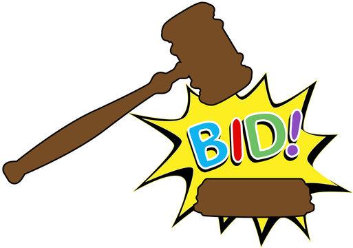 Bid to buy auction gavel cartoon icon