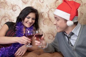 A couple celebrates Christmas