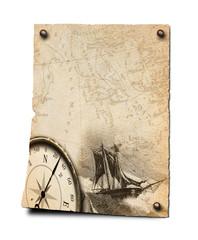 Plakat mit Kompass und Segler