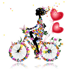 Foto op Plexiglas Bloemen vrouw Flower girl bike with air valentines