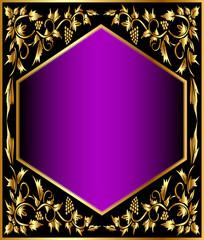 background frame with gold(en) grape pattern