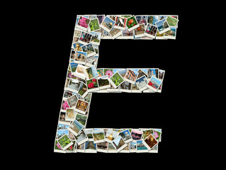 "Shape of  ""E"" letter made like collage of travel photos"