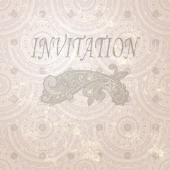 vector vintage invitation with paisley element and seamless east