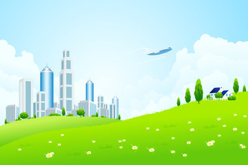 Poster Airplanes, balloon Green landscape with city