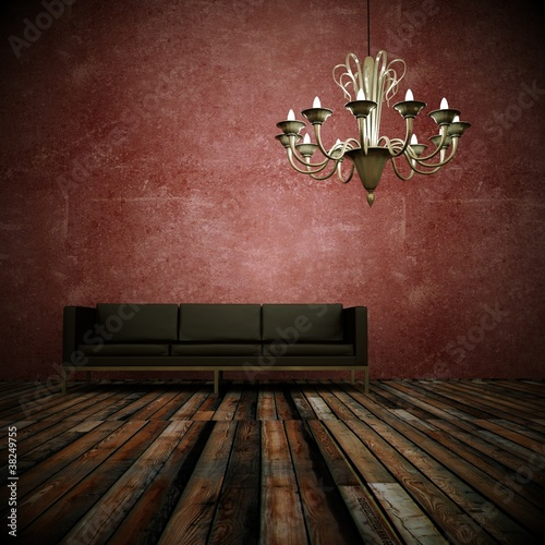 wohndesign ledersofa vor roter wand stockfotos und. Black Bedroom Furniture Sets. Home Design Ideas