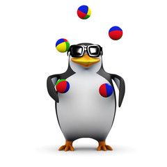 3d Penguin is juggling with extreme skill