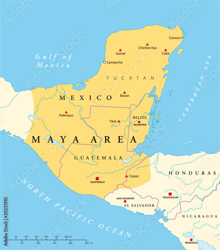 Maya Area Political Map Mesoamerican Civilization And High Culture