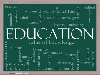 Education Word Cloud Concept on a blackboard