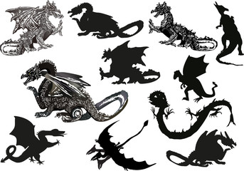 eleven black dragons isolated on white