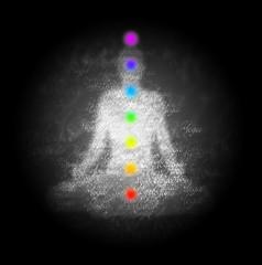 Yoga Chakren in sieben Farben
