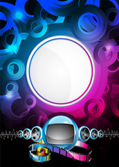 Abstract vector shiny background with speakers.