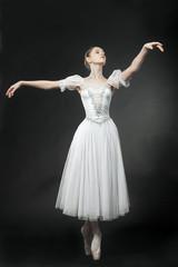 Beautiful dancer posing on studio background