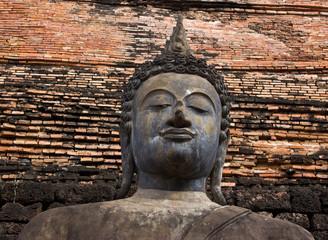 Buddha image in Wat Mahathat at Sukhothai Historical Park, Thail