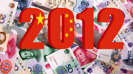 2012 with Flag of China on chinese money background