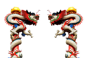 Twin Dragon Chinese Statue Style