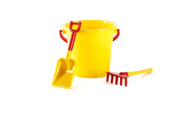 Toy bucket, spade and rake