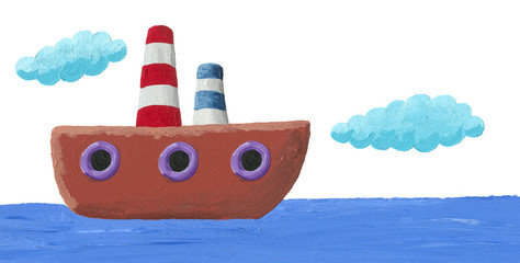 Illustration of funny boat