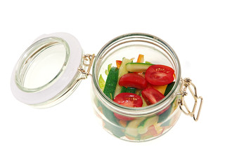steamed vegetables in a jar